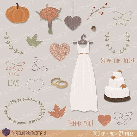 Wedding Clipart Set fall wedding clipart by BlackberryDigitals