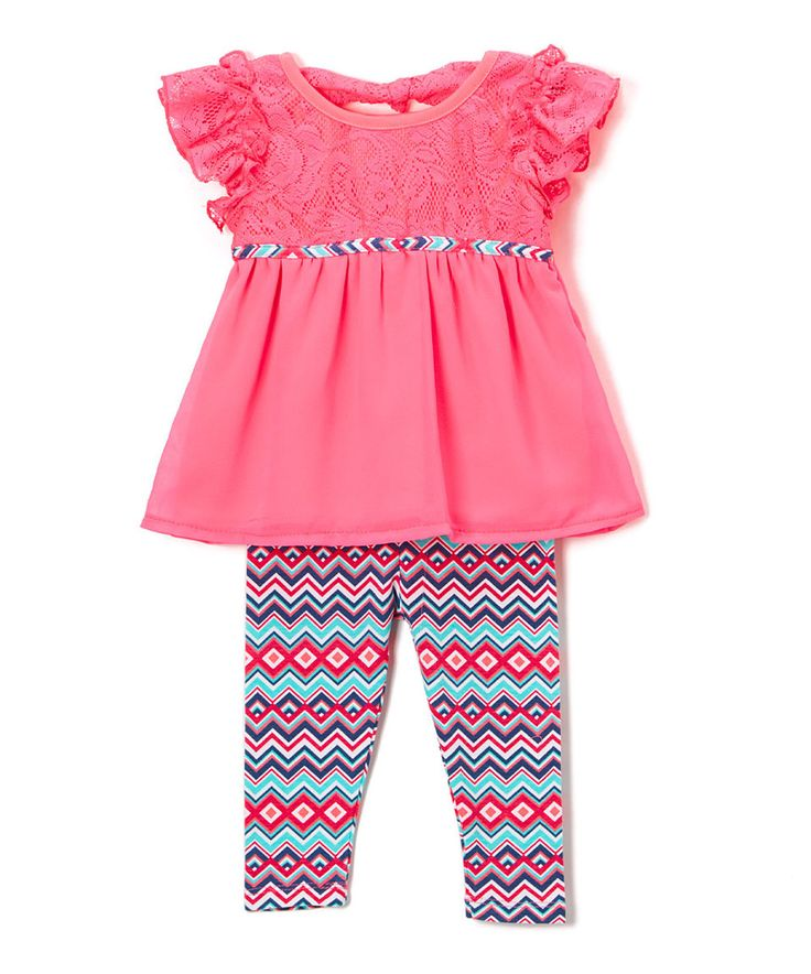 Take a look at this Girls Luv Pink Fuchsia Babydoll Top & Geo Leggings - Infant, Toddler & Girls today!