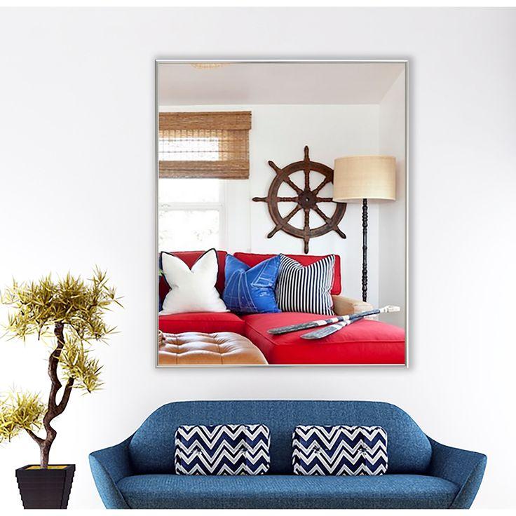 "American Made Rayne Echo Polished Silver Wall Mirror (25.125"" x 60.125"")"