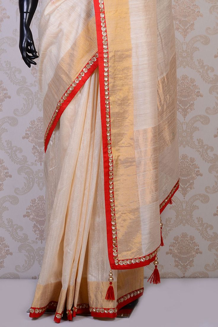 Pearl white dainty tussar silk saree with sequins work-SR16731