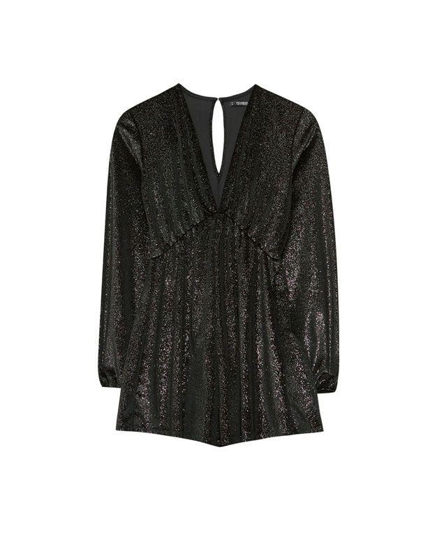 Combishort velours col en v - Salopettes - Vêtements - Femme - PULL&BEAR France