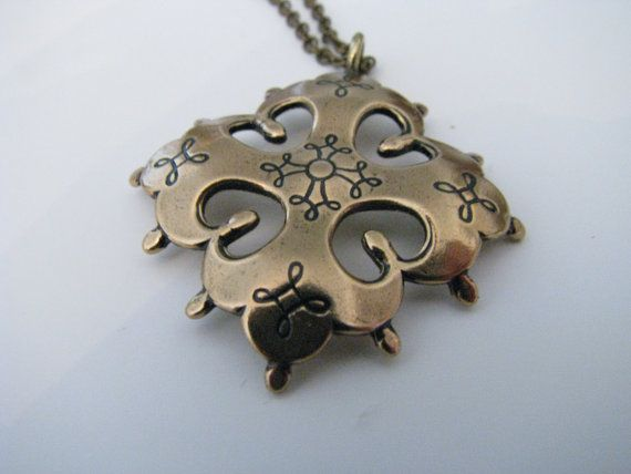 Deadstock Kalevala Koru Karelian Cross Bronze Necklace