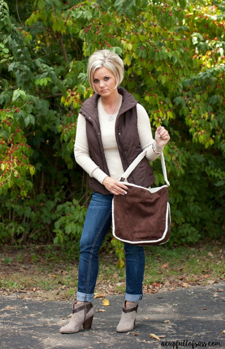 Fall Vest Outfit with ankle boots. So my style!
