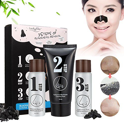 Blackhead Mask Luckyfine Carbon Acne Removal Nose Blackhead Remover Cleansing Peel Off Removal Mask Blackmask 3 Steps Set