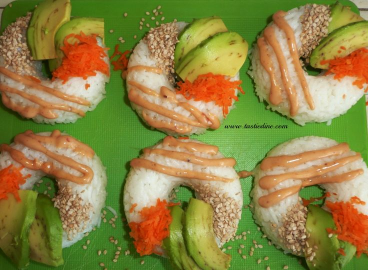 """This sushi donut recipe is trending on Instagram and I just had to try it out. """"Japanese cooking 101 - Sushi Hybrid""""  RECIPE: http://tastiedine.com/2017/02/12/donut-sushi-rice/ .... What are your thoughts?? Xo."""