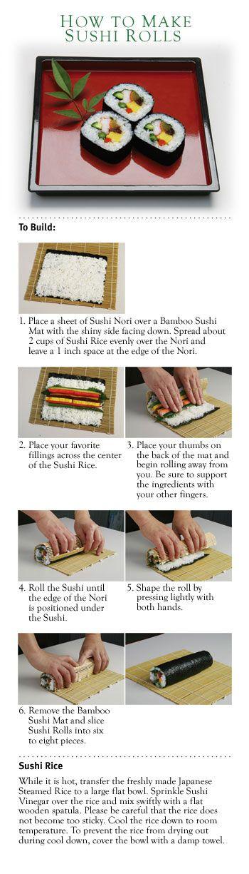 How to make sushi rolls http://www.yamamotoyama.com/rec_How2MkSushiRls.html