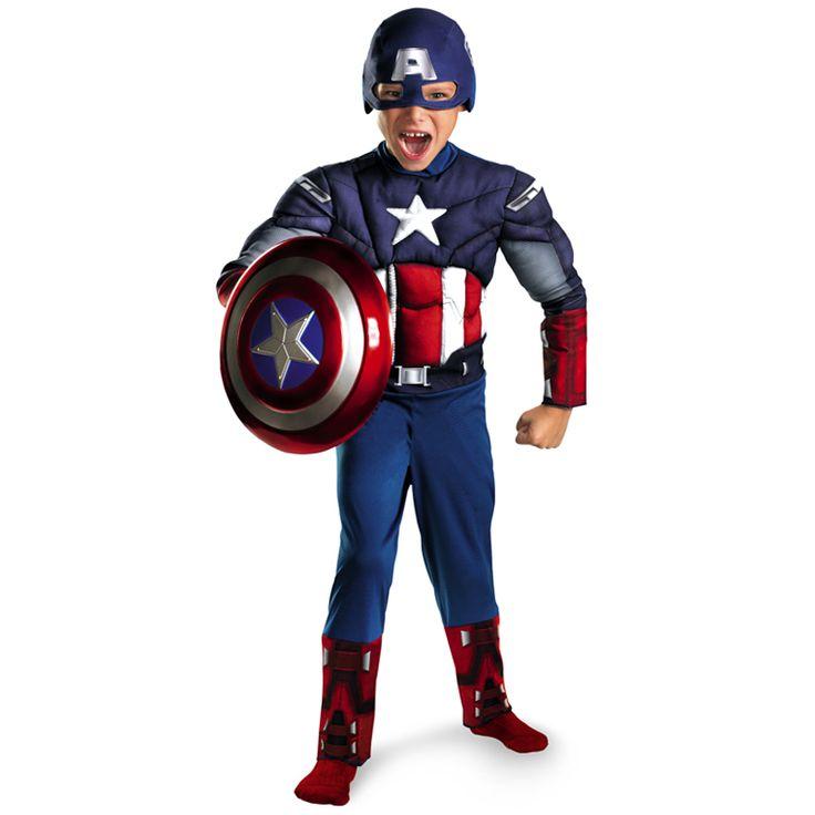 Bambino di Vendita diretta Avengers Capitan America Muscolare Cosplay Fantasia di Halloween Costumi Del Partito