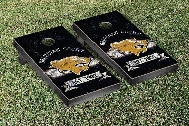 Georgian Court Lions Rustic Established Banner Cornhole Game