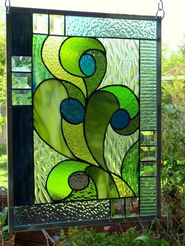 "Stained Glass Window Panel: "" Blue Berry Thrill "" 