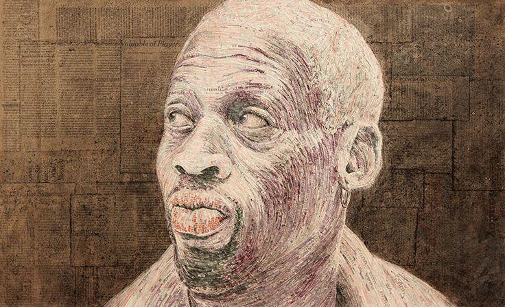 'dennis rodman' rendered in north korean won for made of money currency portraits by evan wondolowski