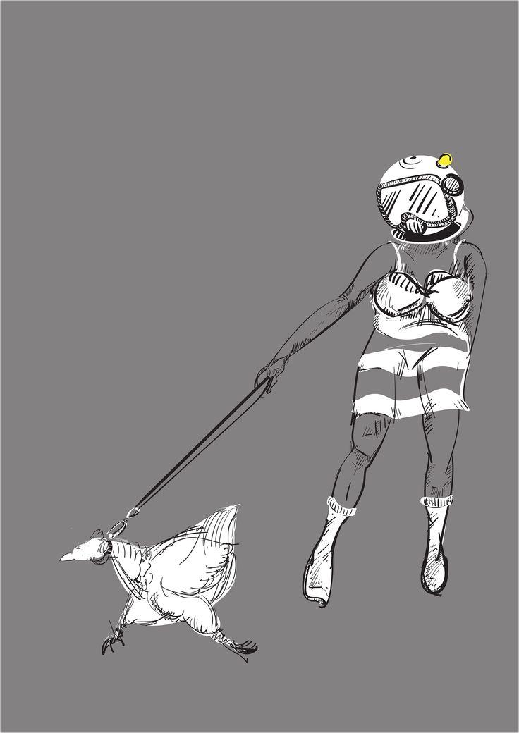 Ean Resner on Bechance, lady, chicken, space, helmet, walking the chicken, penge, london, illustration, picture, art