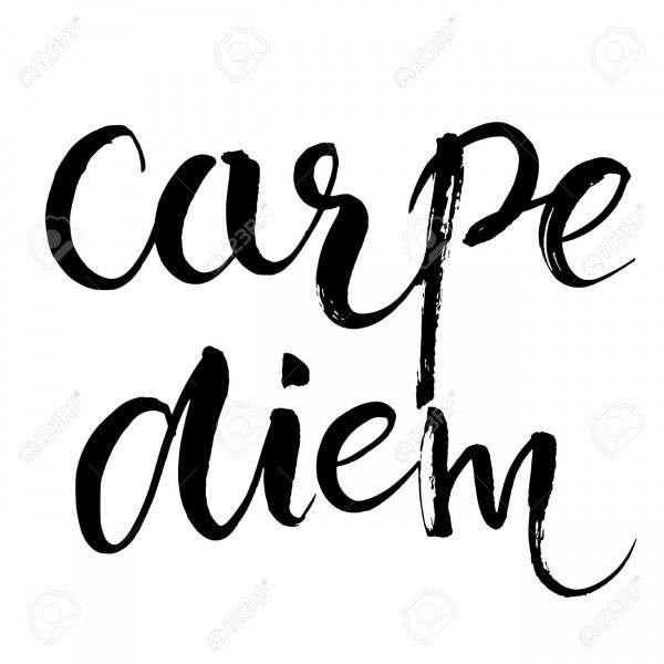 Carpe diem - latin phrase means Capture the moment. Inspirational quote expressive handwritten with brush, isolated on white background.