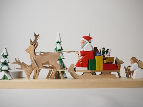 Candle holder - Santa with two deer and sleigh – Adornare