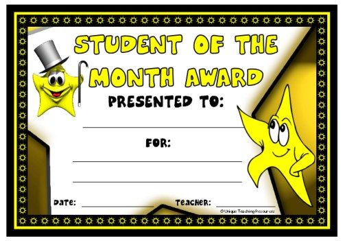 Student of the Month Award:  You can find this printable award (and many other achievement awards and certificates for elementary school teachers) on Unique Teaching Resources.