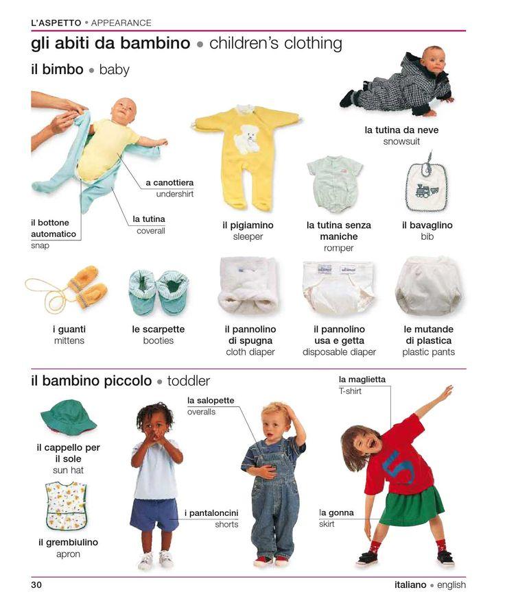 gli abiti da bambino/children's clothing - Italian/english visual bilingual…
