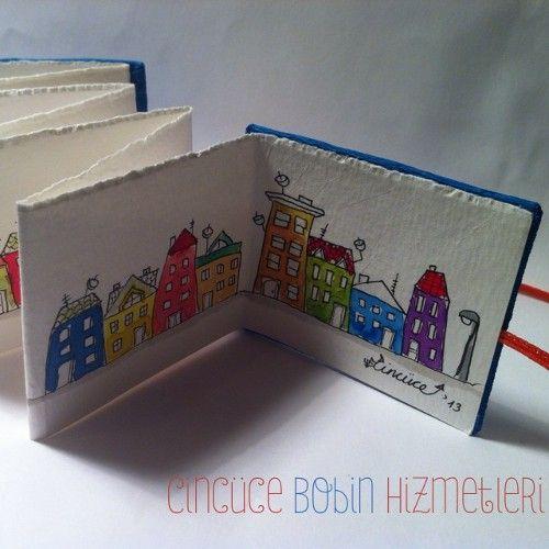 """Cincüce'nin minyatür kitapları - """"Dedikodulu Evler"""" serisi, akordeon kitap / Miniature accordeon book"""