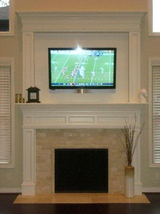 living rooms - custom mantle flatscreen fireplace travertine subway tile TV  over fireplace Travertine Subway Tiles Fireplace travertine subway