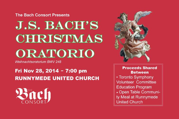 "Toronto's Bach Consort has announced J.S. Bach's Christmas Oratorio, Weihnachtsoratorium BWV 248, as part of their ""Giving Bach to the Community"" initiative"