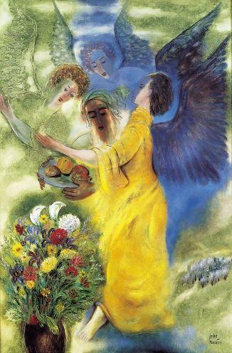 Reuven Rubin (ראובן רובין, Romanian, 1893–Israeli, 1974), Abraham and the three Angels, 1965, oil on canvas, 194x130 cm, Rubin Museum coll. Romanian-born Israeli painter and Israel's first ambassador to Romania.