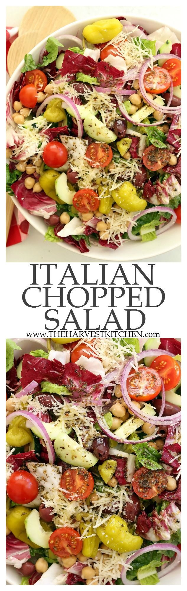 This Italian Chopped Salad is a quintessential chopped salad that's loaded with flavor and a delicious combo of ingredients. It's great to serve with any Italian dish, grilled chicken or salmon, yet filling enough to be a meal on its own. Perfect for warm summer nights, backyard barbecues and potlucks. | healthy recipes | | clean eating | | vegetarian salad | | chopped salad recipes |