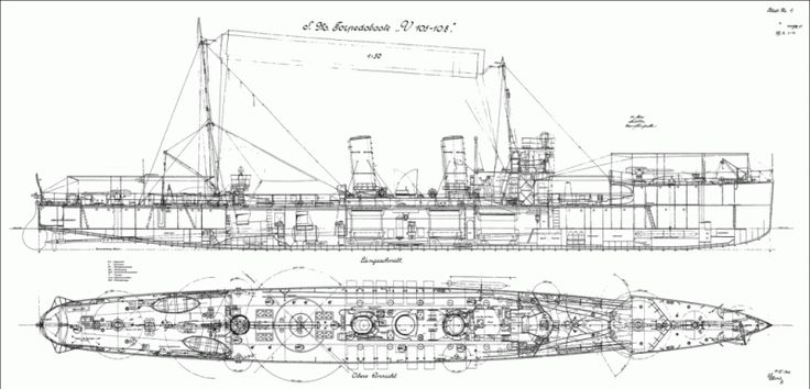 Plans of V-105 class torpedo boat.