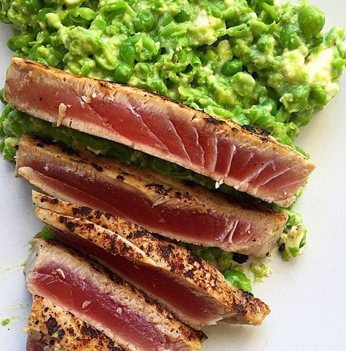 Seared tuna steak with pea and feta mash
