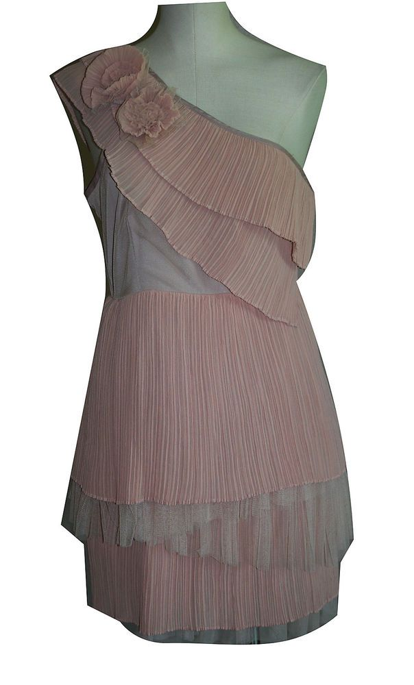 Anthropologie RYU Dress Large L Peach Dusty Pink One Shoulder Pleat Tiered Short #RYU #TeaDress #Cocktail