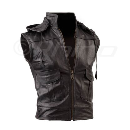 Womens Nappa Leather Vest (detachable hood)