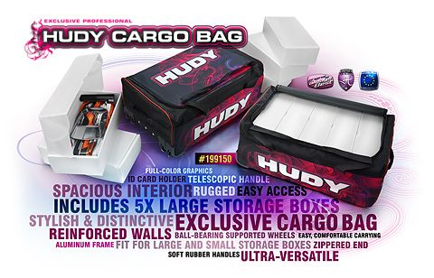 """Smart, stylish, and distinctive and ultra-versatile HUDY Cargo Bag to transport all your RC car equipment. The Cargo Bag is large and spacious enough to carry your tools, set-up equipment, and RC gear to any track with comfort and ease. A """"must have"""" for any RC car driver."""