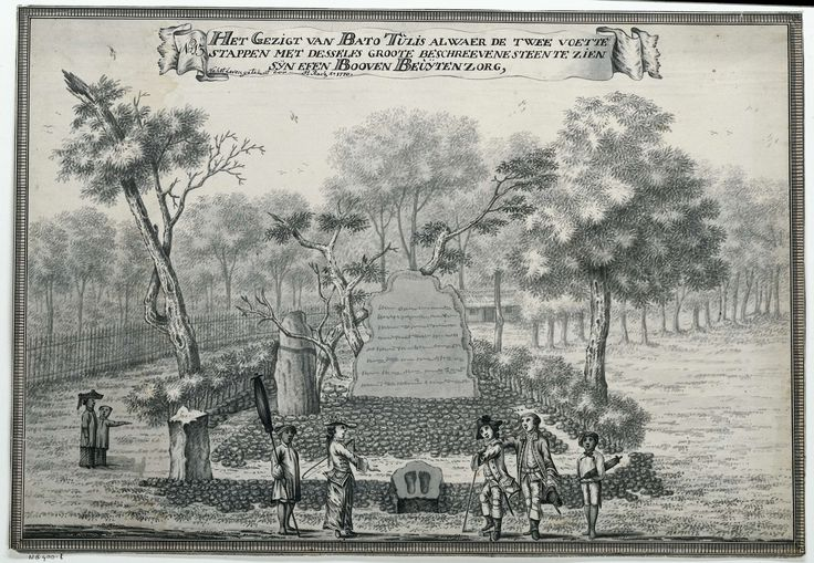 Johannes Rach | Het Gezigt van Bato Tulis, Johannes Rach, 1770 | Tussen 2 bomen een grote, rechtsopstaande beschreven steen en een iets kleinere zonder tekst. M.o. een kleine liggende steen met de afdrukken van 2 grote voetstappen erin. Links van deze steen 4, rechts 3 personen. Landschap met bomen. Opschrift; midden boven: HET GEZIGT VAN BATO TULIS ALWAER DE TWEE VOETTE / STAPPEN MET DESSELFS GROOTE BESCHREEVENE STEEN TE ZIEN / SYN EFEN BOOVEN BEUYTENZORG. Gesigneerd en gedateerd.