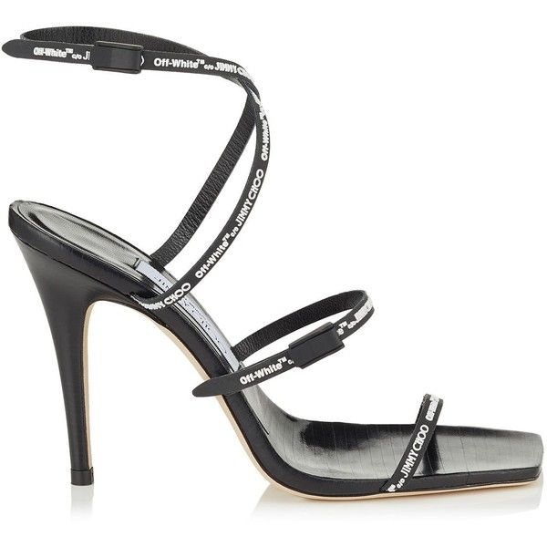 Jimmy Choo X Off-White Jane 100 Rubber Sandals ($1,045) ❤ liked on Polyvore featuring shoes, sandals, strappy sandals, jimmy choo shoes, strap sandals, monk-strap shoes and jimmy choo
