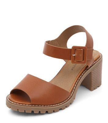 Wide Fit Tan Ankle Strap Chunky Cleated Sole Sandals