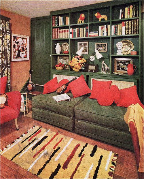 1950s mid century den from 1953 better homes garden - 1950 s living room decorating ideas ...