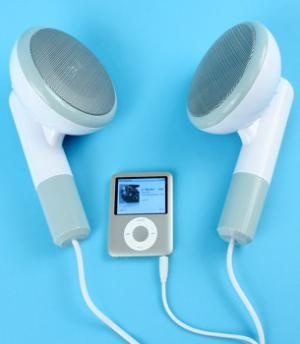 Giant ear bud speakers. When I first saw this picture I thought that the iPod was the smallest one in the world. Then I read the caption...
