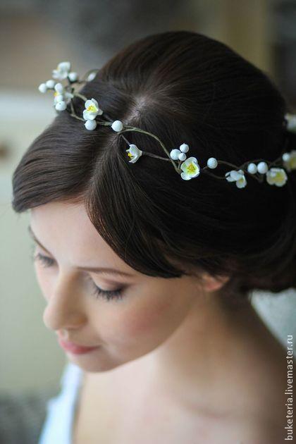 Веночек для свадебной прически. Цветы из полимерной глины - веночек,цветы из полимерной глины