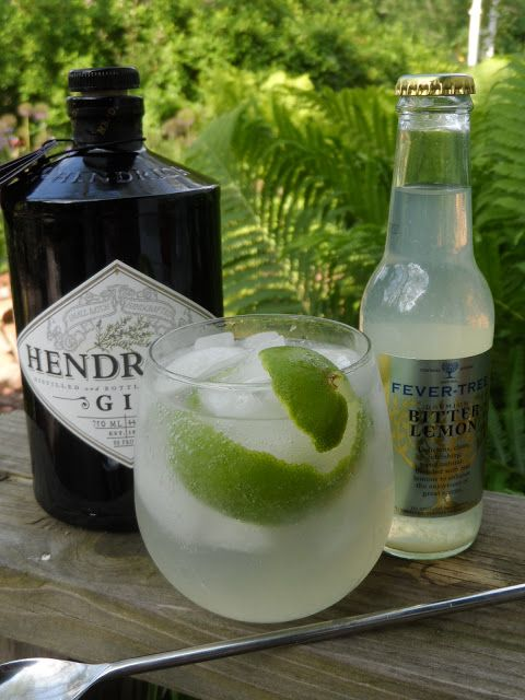 Hendricks Gin and Bitter Lemon   2 ounces gin - use your very own favorite gin 1 bottle Fever Tree Bitter Lemon ice just a squeeze of lime