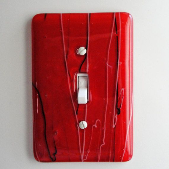 Fused Glass Light Switch Plate   Red Home Decor Wall Art Outlet Cover  Switchplate Cover Asian Under 50