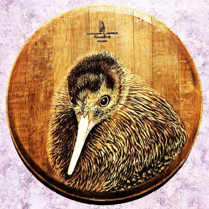 The New Zealand Kiwi on recycled oak wine barrel lid. www.hannahstarnesart.co.nz