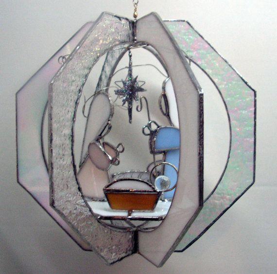 Stained Glass Manger Scene Suncatcher by SerendipityGlassWrks, $65.00