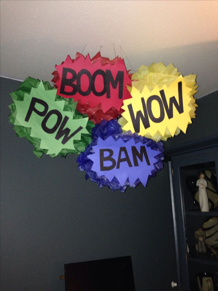Tissue paper poms for superhero themed party !