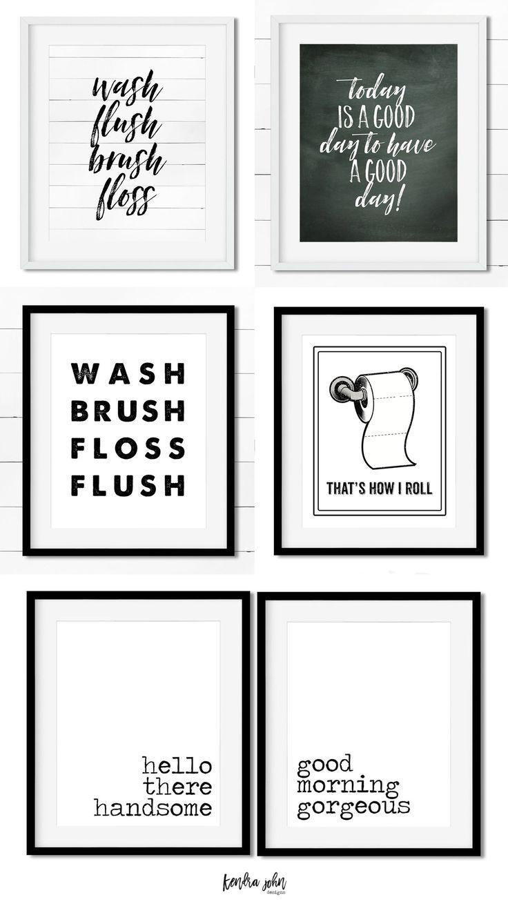10 Free Black And White Bathroom Printables Kendra John Designs Badezimmer Wandkunst Weisse Badezimmer Schwarz Weisse Badezimmer
