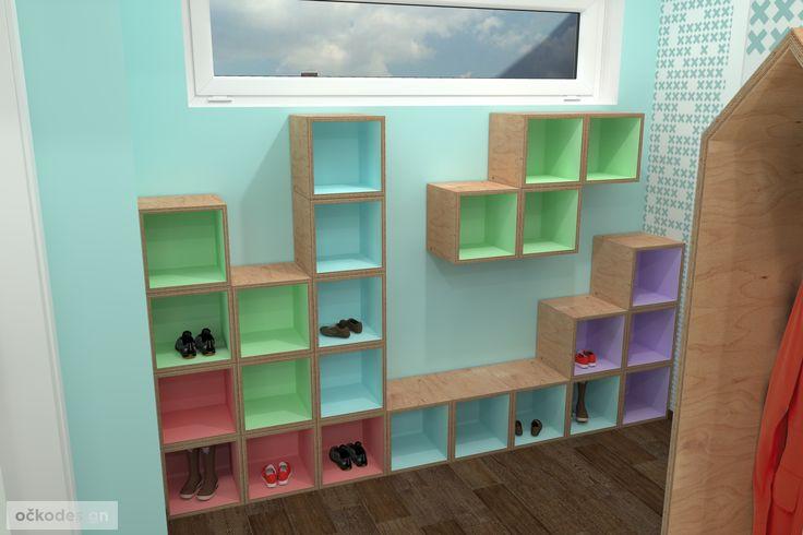 moderní mateřská školka - botník jako Tetris - zajímavé designové interiéry
