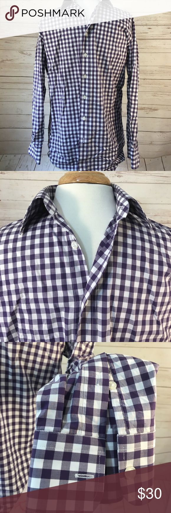 Modern Tailor Dress shirt Custom made shirt that didn't fit because we didn't take proper measurements lol! Beautiful plum checkered fabric, stiff collar, strong buttons. Fits like a medium. Only worn once. Great for a wedding guest under a suit. Modern Tailor Shirts Dress Shirts
