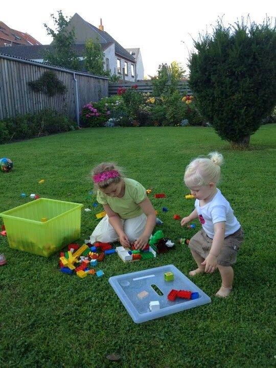Legos in the garden is fun