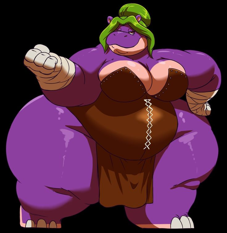 Bertha Hippo: Bertha is a giant oversized hippo that was born and raised as a powerful fighter.  Powers and abilities: Bertha's fatty body provides her with enhanced strength and durability. She can also run at superhuman speeds, decrease/increase her body mass at will, and flatten enemies by sitting on them.