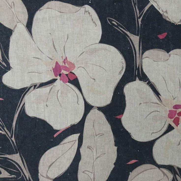 Hibiscus - black, on 100% slubby linen. www.whatnot.co.za
