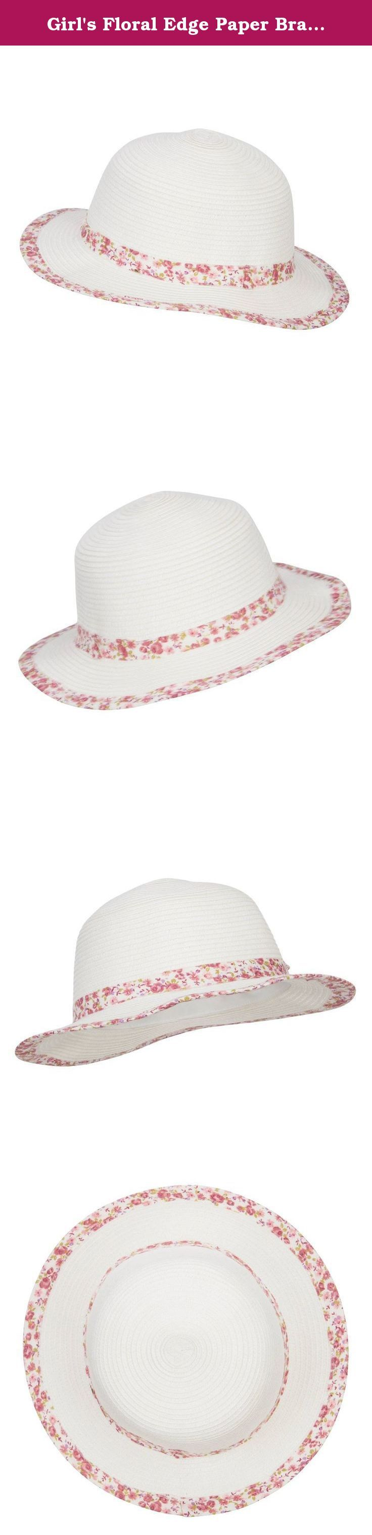 Girl's Floral Edge Paper Braid Hat - White OSFM. Lovely floral paper braid bucket hat for your little girls. Round and flexible crown. A floral hat band is featured around the crown. Brim is flexible and flat. Floral print around the edge of brim. Our kid's floral bucket hat is great for all kinds of outings such as picnic, school, play day and others. Spring and summer. 11.5(W) X 11.5(L) X 3.5(H) inches. Flexible, lightweight and cool material. Available in different colors and styles.