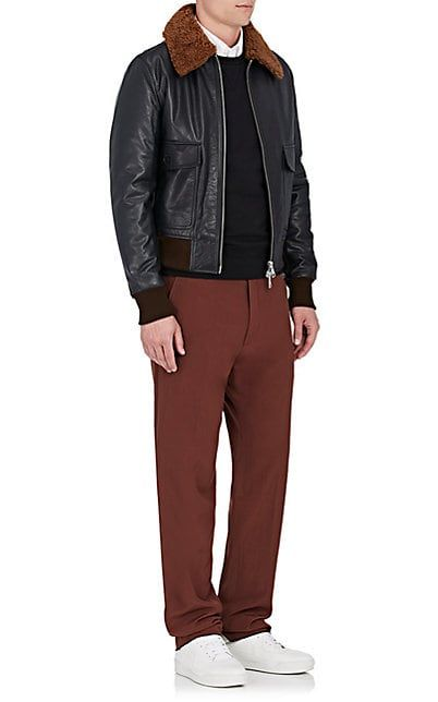 AMI Alexandre Mattiussi Shearling-Trimmed Leather Bomber Jacket - Coats - 505292206