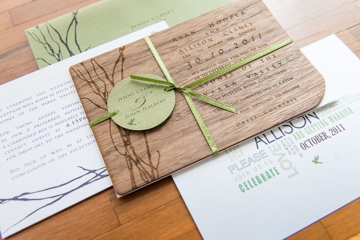 Laser etched wood veneer invitation with matching envelope, RSVP and directions card. Go to www.lovemytype.com.au