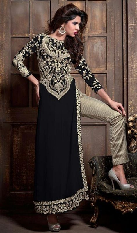 Pant Style Suit, Georgette Fabric in Black Color
